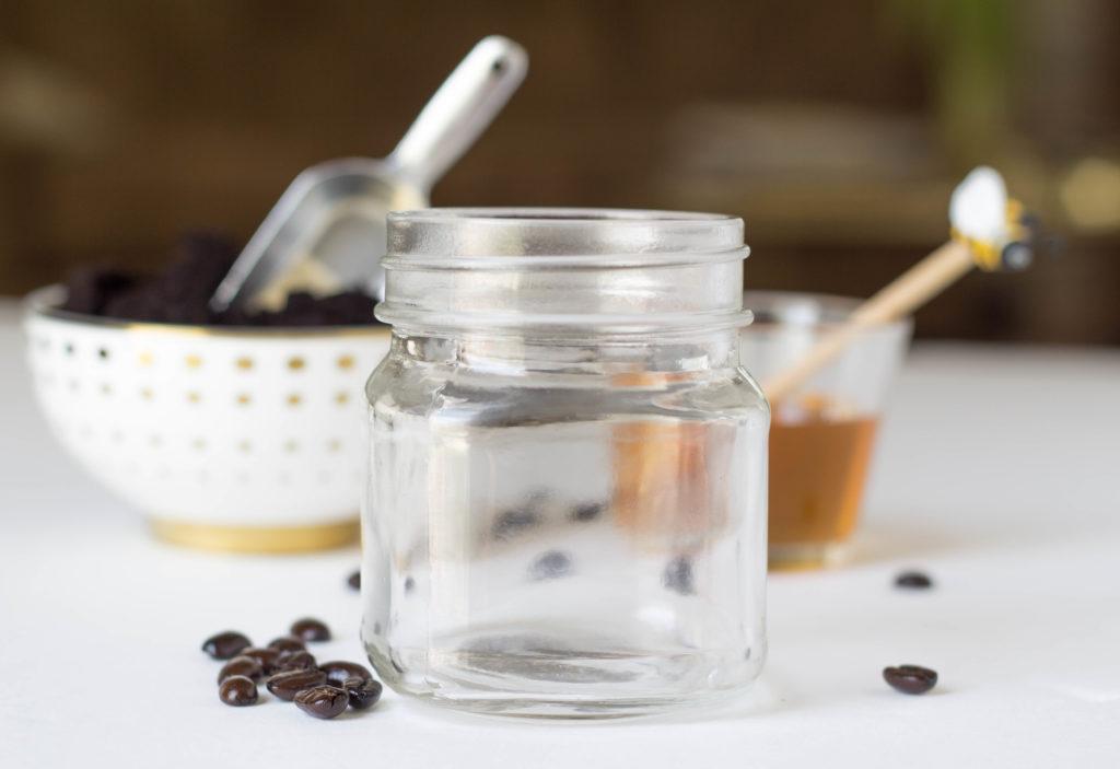 organic honey, organic coffee beans and mason jar