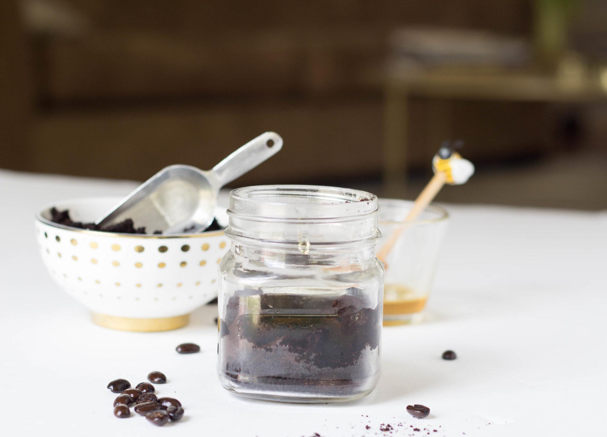 coffee ground and honey in mason jar